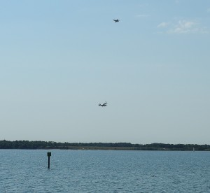 F/A 18 and V-22 Osprey cross paths